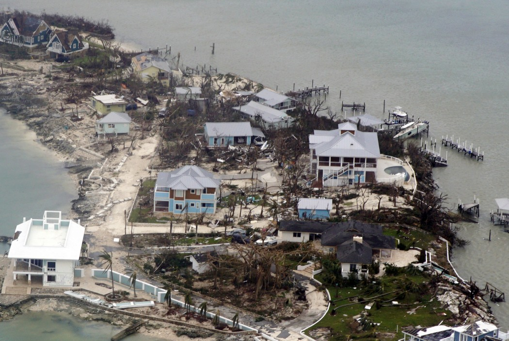 epa07815880 A handout photo made available by the US Coast Guard shows an aerial view of damaged structures in the Bahamas, 03 September 2019, seen from a Coast Guard Elizabeth City C-130 aircraft after Hurricane Dorian shifted north. Hurricane Dorian made landfall on 31 August.  EPA-EFE/PO2 ADAM STANTON/US COAST GUARD HANDOUT  HANDOUT EDITORIAL USE ONLY/NO SALES